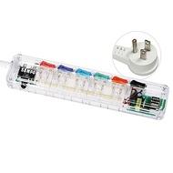 SAMPO聲寶6切5座3孔6尺透明雙USB延長線1.8M EL-U65R6U21(T)