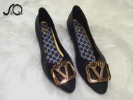 รองเท้าผู้หญิง รองเท้าคัชชู รองเท้าหุ้มส้น แฟชั่นส้นแบน ส้นเตี้ย รหัส1613-v