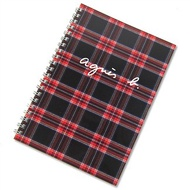agnes b. 線圈蘇格蘭紋筆記本(黑)