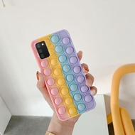 Pop Toys Phone Cases for Samsung Galaxy A02s M02s Soft Silicone Phone Case with Funny Rainbow Capa Push It Relieve Stress Pop Fidget Toys Bubble Casing Cover hp