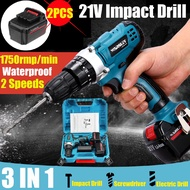 21V Cordless Electric Impact Drill 21V Driver Hammer Electric Screwdriver Waterproof