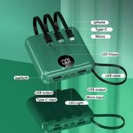 J/X power bank powerbank [Latest]Powerbank 20000mah Fast charging Dual input output Built-in 4 cables full capacity Digi
