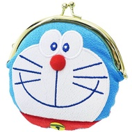 〔小禮堂〕哆啦A夢 造型和風絲質口金零錢包《藍白.大臉》收納包.耳機包