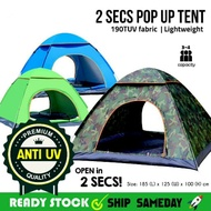 2 Seconds Pop up Tent Camping Camp 3/4 person outdoor camp