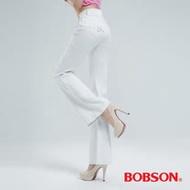 BOBSON 高腰頭鑽飾伸縮喇叭褲 (白色9050-80)