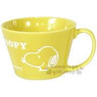 〔小禮堂〕史努比 陶瓷馬克杯《黃.大臉.素描.英文字》寬口平底.精緻盒裝