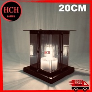 HCH Modern 20cm x 20cm Outdoor Pillar Light Lamp Holder Smoke Glass Outdoor Pillar Lamp Lampu Pagar Lampu Tiang(6633-20)
