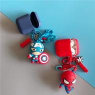 漫威 蜘蛛人美國隊長 鋼鐵俠 airpods1 2保護套 可愛掛件公仔