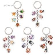 sohopo Genshin Impact Kaedehara Kazuha Kamisato Ayaka Diluc Cosplay Keychain Acrylic Pendant Keyring