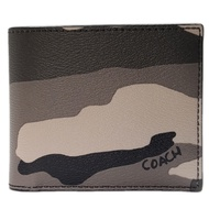 COACH 灰迷彩八卡基本款男用短夾