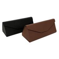 【KEL MODE】眼鏡配件-質感壓紋眼鏡盒-兩色可挑選/太陽眼鏡袋/收納盒(#三角盒-可摺疊收納)