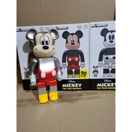 Action Figure Bearbrick Popular Fashion 400% Bearbrick  Silver Grey Gold Style Mickey Mouse