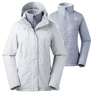 【美國 The North Face】女新款 防風防水透氣耐磨連帽兩件式外套.夾克/風雨衣/DryVent 全壓膠/3L93 灰 N