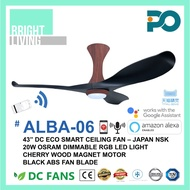 """PO ALBA-06 43/52"""" SMART WIFI-Enabled DC-Eco Ceiling Fan with 20W Dimmable RGB LED Light Kit"""