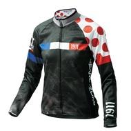 【7號公園自行車】PEARL iZUMi W7455-BL-16 15度女性冬季保暖長袖車衣(黑/環法紅點)