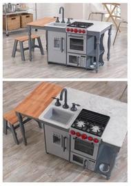運+COSTCO【81CM*62CM*109CM】KIDKRAFT 小小中島式廚房遊戲組 聲光音效 微波爐 冰箱 製冰機
