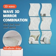 Adhesive Wave Mirror System Combination Mirror Three-Dimensional Wall Stickers Mirror Wall Stickers New Wall Stickers