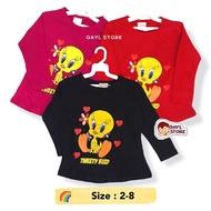 T-Shirt Long Sleeve Tweetyy (Tag 2-6) Cotton Tops for Girl Kids Clothing / Baju Lengan Panjang Kanak Kanak Perempuan 1 2 3 4 5 6 Tahun