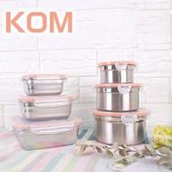 【KOM (氣炸鍋適用】日式萬用不鏽鋼保鮮盒六件組