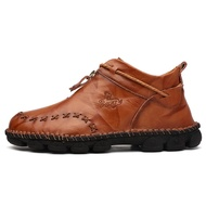 Autumn new leather men winter boots high tops man casual ankle boot comfortable snow shoes male work plus size 38-48