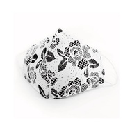 3D耳掛式成人款可放不織布濾材透氣純棉進口布口罩套(蕾絲玫瑰)