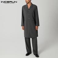(Muslim) INCERUN Jaket Kaftan Lengan Panjang Pria Baju Mantel Muslim Arab Jobba Abaya Jubah Jaket Pria