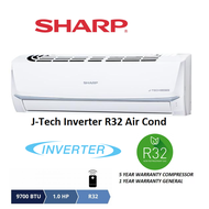 Sharp R32 J-Tech Inverter AHX9VED2 &amp AUX9VED2 1.0hp Inverter Split Air Conditioner R32 Aircond - 5 Star Energy Saving