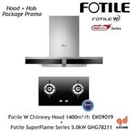 Fotile Chimney Hood EMS9019+ Fotile Gas Hob 5.0kW Super Flame Series GHG78211