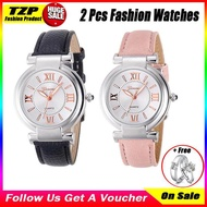 [With 1 Pairs Couple Rings]TZP Store 1 Pairs Hot Sale Geneva 5667 Large Dial Simple Fashion Waterproof Quartz Casual Couple Watch Leather Strap Women Watches Jam Tangan Pria Alexandre Christie Original