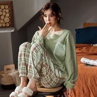 ATUENDO Autumn Fashion Green Silk Pajamas Sets for Women 100% Cotton PJS Atoff Home Sleepwear Winter