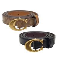 COACH 窄版金屬C字釦式牛皮女用皮帶-多款