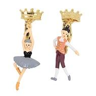 Les Nereides N2  優雅芭蕾舞女孩系列 王子與黑天鵝雙人舞 不對襯夾式耳環