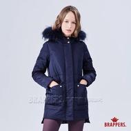 【BRAPPERS】女款 中長版可拆帽羽絨外套(深藍)