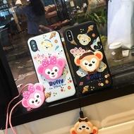 【免運】三星Note4/Note5軟硅膠套Note8少女心可愛達菲熊Note9手機殼掛繩