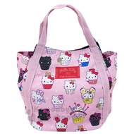 〔小禮堂〕Hello Kitty 帆布托特包手提包《粉.杯子蛋糕》手提袋.外出袋.便當袋