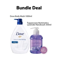 Dove Body Wash Beauty Nourishing 1000ml + Tupperware Nutrimetics Lavender Moisturizing Hand Wash 300ml, Anti-Bacteria & Anti-Virus [Expiry: April 2022]