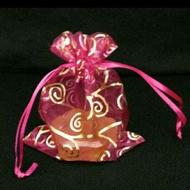 台灣製  桃紅色勾藤花燙金雪紗袋12*17cm  每包10個/40元