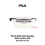 Fila XL Biella Italia Sling Bag 全白 皮革 大Logo 雙夾層 腰包 斜背包 側背包