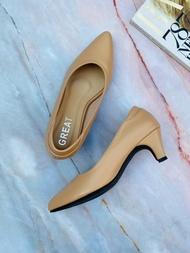 GREAT-C03 รองเท้าทำงาน ผญ รองเท้าคัชชูผญ รองเท้าคัชชูทำงาน รองเท้าคัชชูส้นสูงไซส์ใหญ่ รองเท้าคัชชูไซส์ใหญ่ ส้นสูง2นิ้ว