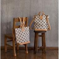 ✈️日本代購✈️預購 日本製 Kanmi 水玉圓點帆布牛皮後背包 帆布背包 異材質拼接包 共2色