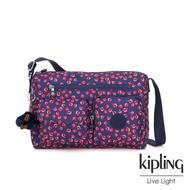 Kipling 古典茜紅小花多前袋收納功能側背包-JEAN