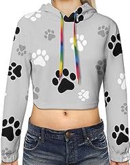 Animal Paw Prints Print Hoodies,Women'S Casual Long Sleeve Pullover Crop Tops Sweatshirt
