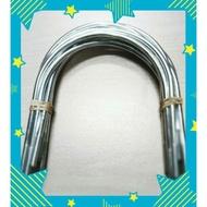 """[台製]6""""鍍鋅U型螺絲.附螺帽,6吋吊管螺絲,{3分牙3/8},EMT鐵管螺絲,PVC管螺絲,風管螺絲。"""