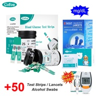 (Buy 3 Free Monitor)Cofoe 50pcs Blood Glucose Test Strips 50pcs Lancets 50pcs Alcohol Swabs blood Sugar Test Kit for Diabetes (No monitor,only suitable for cofoe GLM-77 glucometer)