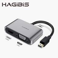 【HAGiBiS】鋁合金Mini DP轉HDMI+VGA+AUX轉換器(PHV3)