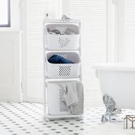 洗衣籃架/洗衣籃車/衣物分類 Kira三層收納髒衣籃(附輪) 完美主義 【F0077】