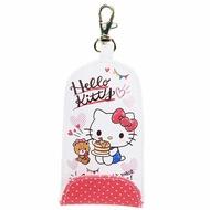 小禮堂 Hello Kitty 皮質扣式伸縮鑰匙包《白紅.吃鬆餅》遙控器包.掛飾.鑰匙圈