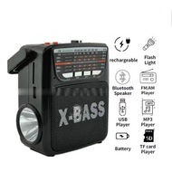 ┅kuku Rechargeable AM/FM Radio with wireless bluetooth speaker USB/SD Music Player