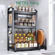 NETEL Kitchen Spice Organizer Container Rack Jar Organizer Seasoning Rack Countertop Storage Shelf Holder Standing Black