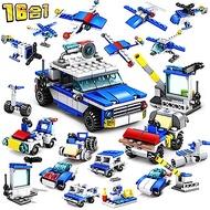 城市系列-16合一 城市警察  新款積木 (兒童益智拼裝早教玩具)